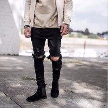 Man Si Tun2017 Hip Hop Fashion Cool Mens urban Clothing jumpsuit Men's Zipper broken-hole rock star jeans with some broken holes