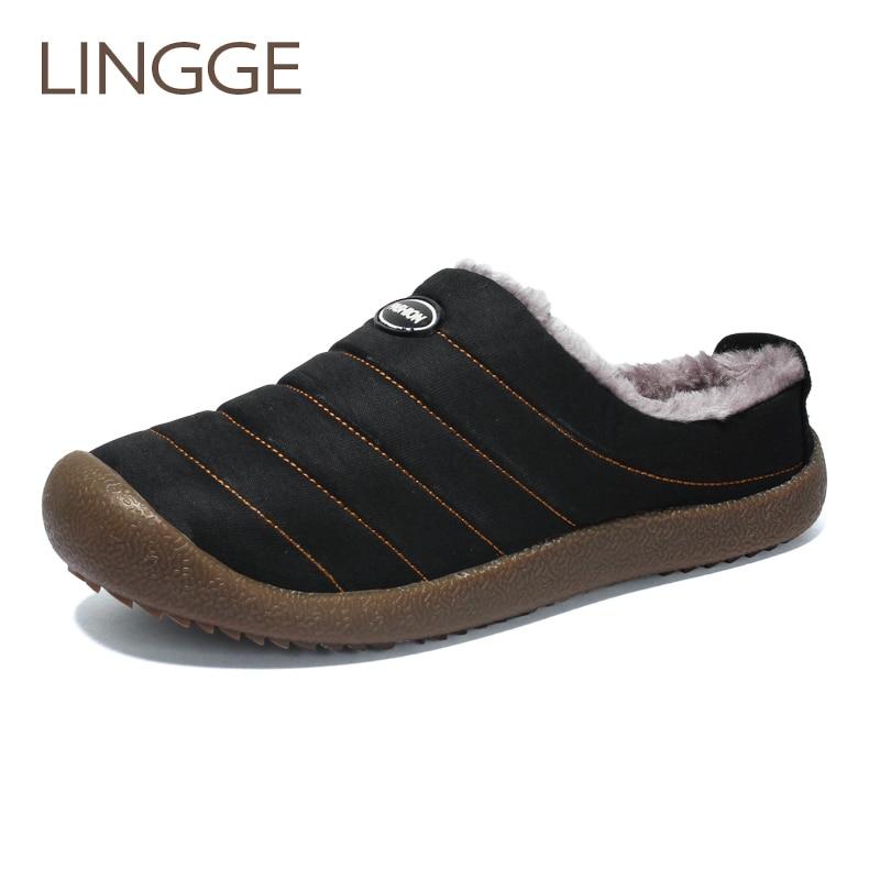 LINNGE Winter Men Shoes Plush Men Slippers Fleece Warm Fur Thicken Cotton-Padded Home Slipper Indoor Flat Shoes Big Size 37-48