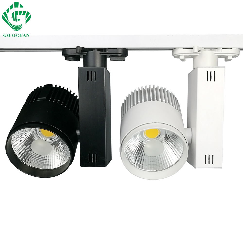 LED Track Lights 20W Dimmable COB Rail Linear Light Clothing Store Shoes Shops Lamps Equal 200w Halogen Lamp 2 3 4 wire 3-phase led track light50wled exhibition hall cob track light to shoot the light clothing store to shoot the light window