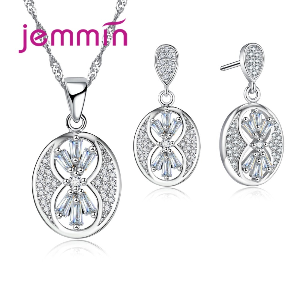 2020 Vintage Brand Fine 925 Sterling Silver Jewelry Crystal Pendant Necklace Earrings Set For Women Engagement Bijoux