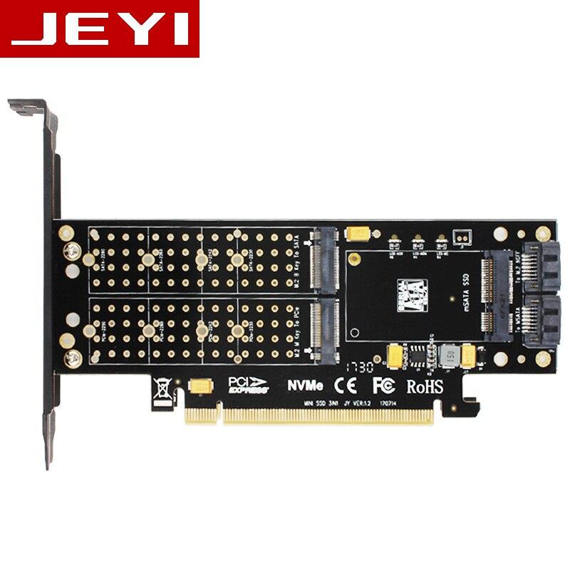 JEYI SK16 M.2 NVMe SSD NGFF À PCI-E3.0 X4 adaptateur M Clé B Clé mSATA ajouter sur la carte Suppor PCI express 3.0 3 dans 1 double 12 v + 3.3 v