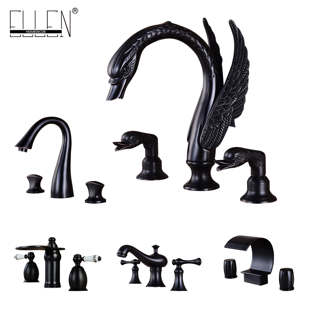 Bathroom Faucet 3 Hole Double Handle Black Solid Brass Waterfall Basin Sink Mixer Tap Widespread chrome finished bathroom sink tub faucet single handle waterfall spout mixer tap solid brass