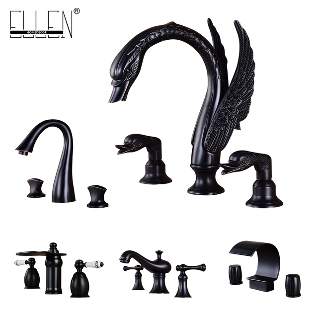 Bathroom Faucet 3 Hole Double Handle Black Solid Br Waterfall Basin Sink Mixer Tap Widespread