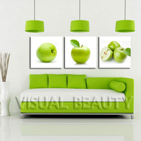 FREE SHIPPING Green Apple Images Canvas Fruit Oil Painting Canvas Art Decoration(Unframed)50x50cmx3pcs