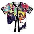 Artístico Jazz Jersey con botones de Los Hombres de Hip Hop camisetas 3d impresión overshirt camisa Streetwear tops camisetas frescas Casul