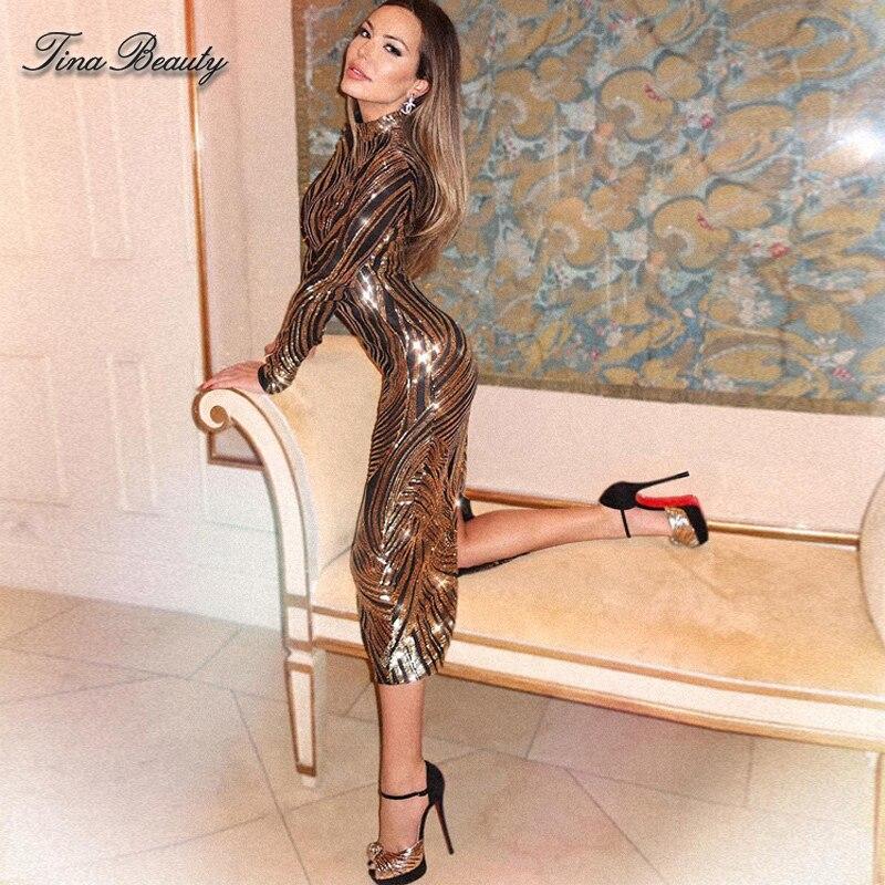 Tina beauté élégante paillettes célébrité paillettes robes femmes grande taille doré Midi col roulé longue robe de soirée pour le bal de promo