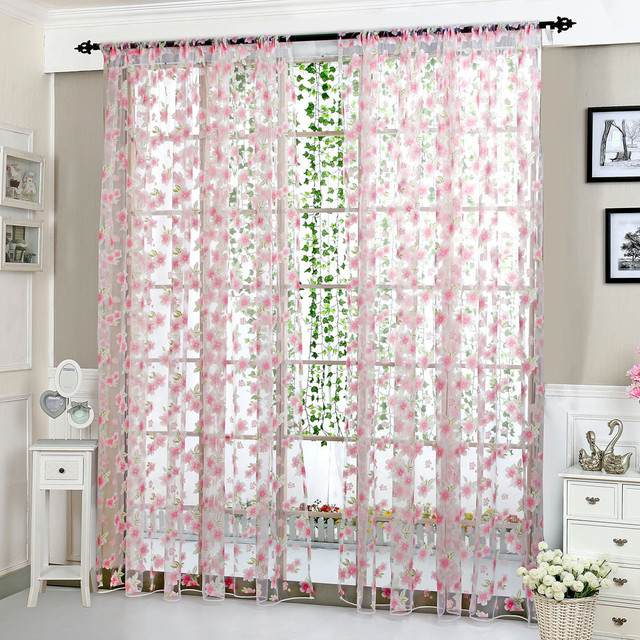 Embroidery Flowers Lace Flower Sheer Curtain Tulle Window Treatment Voile  Drape Valance 1 Panel Fabric Pink