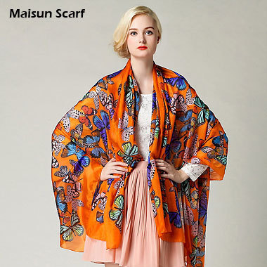 Large Size And Extra Thick Silk Paj Scarves 100% Silk 8mm 180x110cm Butterfly Pattern Fashion Brand Shawl Designer Scarf