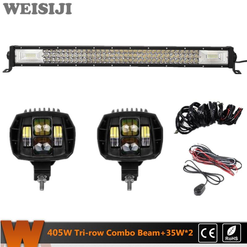 WEISIJI Hot Selling Tri-row 405W LED Light Bar+2Pcs 35W Low Beam LED Work Lights+2Pcs Wiring Kits Set for Jeep Truck SUV ATV UTV юрий бондарев мгновения