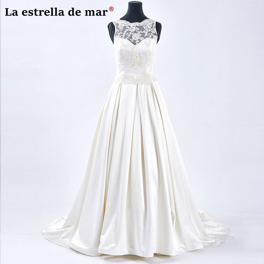 Vestidos de noiva2018 new lace and satin a Line ivory wedding dress long real photos bru ...