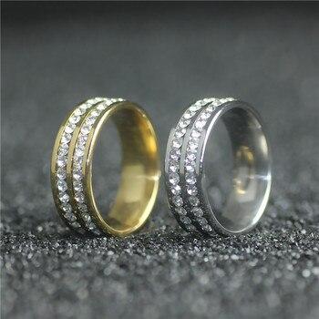 eb672466a5ce ITHIL 8mm ancho oro Color acero inoxidable señor anillo diamantes de  imitación cristal anillos para joyería femenina y masculina anillos anel