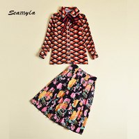 Seamyla High Quality Designer Runway Suits Set Women S New Autumn Fashion Print Two Piece Set