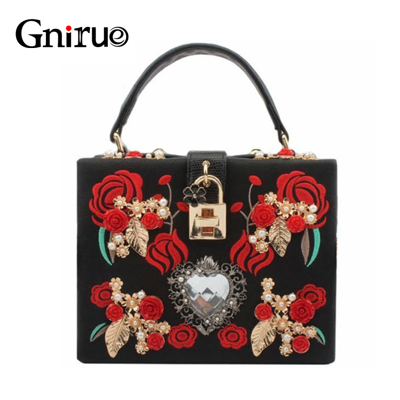 High Quality PU Embroidery Diamond Red Rose Flower Beaded Fashion Women Shoulder Handbags Crossbody Bags Evening Bags Box Clutch new national embroidery bags high quality women fashion shoulder