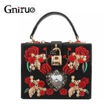 Hohe Qualität PU Stickerei Diamant Rote Rose Blume Perlen Mode Frauen Schulter Handtaschen Crossbody Taschen Abend Box Clutch