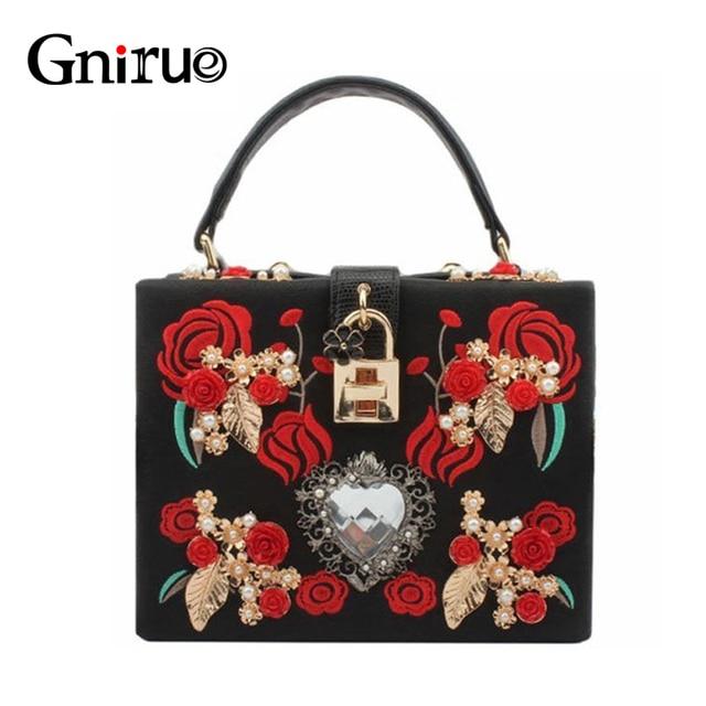 High Quality PU Embroidery Diamond Red Rose Flower Beaded Fashion Women Shoulder Handbags Crossbody Bags Evening Bags Box Clutch