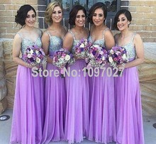 High Quality Western Style Sheath V Neck Straps Beaded Purple Chiffon Bridesmaid Dresses Long Big Size MG158