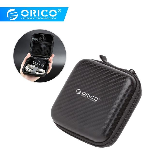 オリコヘッドホンケースバッグポータブルイヤホンイヤフォンハードボックス収納用カード USB ケーブルオーガイヤホンバッグ- 黒