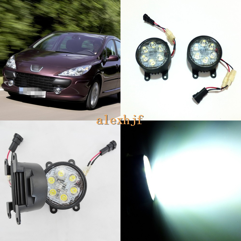 July King 18W 6LEDs H11 LED Fog Lamp Assembly Case for Peugeot 307 2005~2012, 6500K 1260LM LED Daytime Running Lights