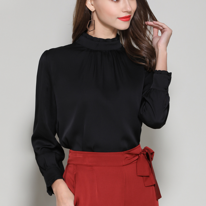 Silk Stain full sleeve Blouses shirts elegant white office lady work fashion solid silk shirts blouse tops summer Woman 2019 - 4