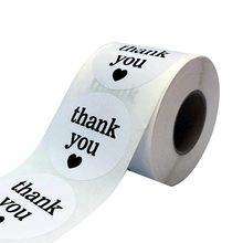 2 White Semi Gloss Thank You Stickers with Black Print 500 Round Adhesive Labels as promotional label or package