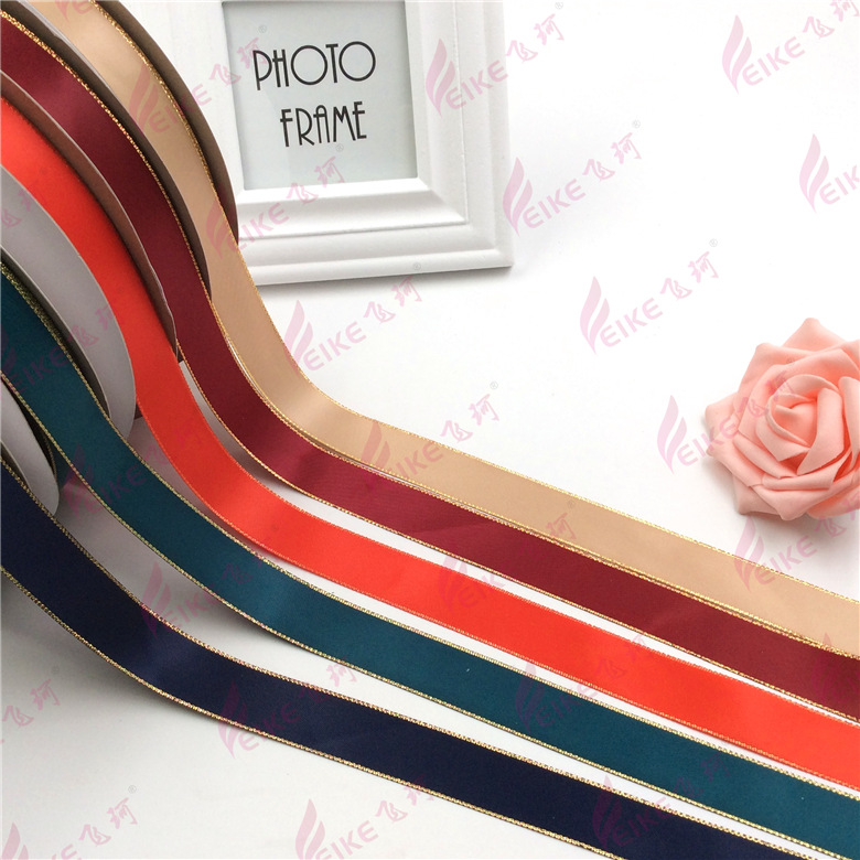 0.6cm 2.2cm gold and silver double sided polyester belt candy box gift packaging Ribbon Ribbon Wedding Flowers