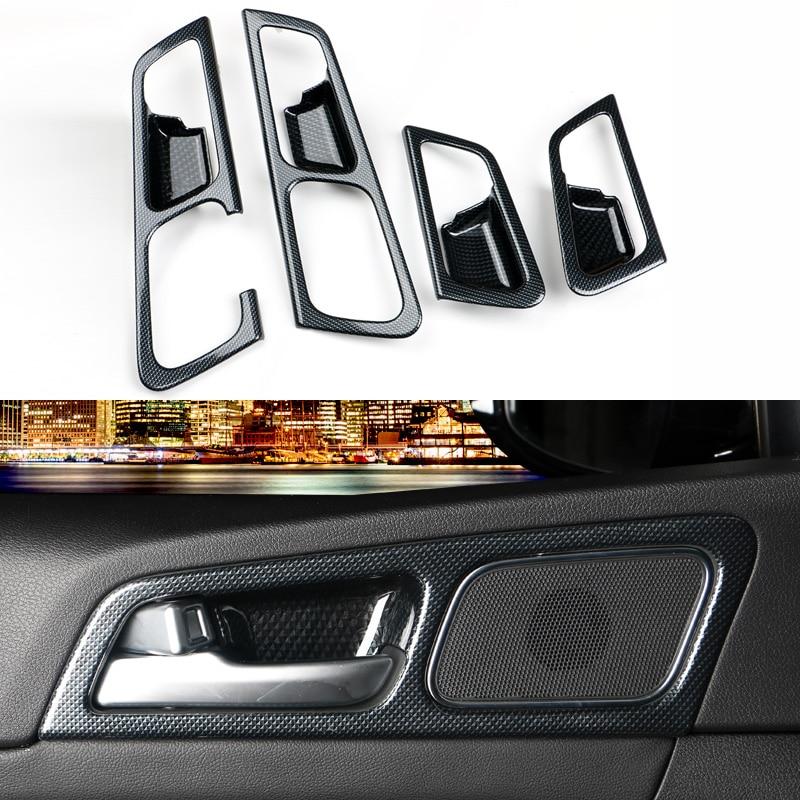 carbon fiber car door handle bowl cover sticker interior decoration trim lhd for kia sportage ql 2016 2017 accessories