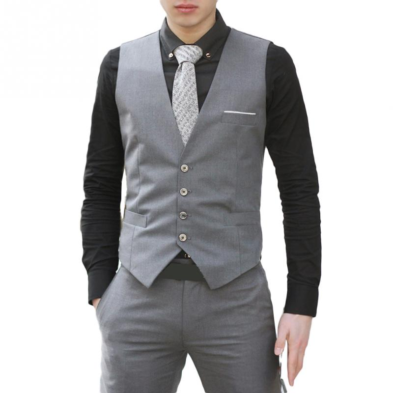 2018 Hot Sell Men Suit Vest Male Self-cultivation Formal Classic Business Waistcoat Slim Fit Casual Gilet New Fashion Suit Vest