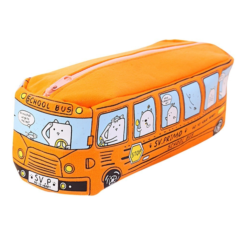 Creative Lovely Bus Style Shape Pen Bag Lovely Multifunction Stationeryl Case For School Students Canvas Pen Cute Cases Bag