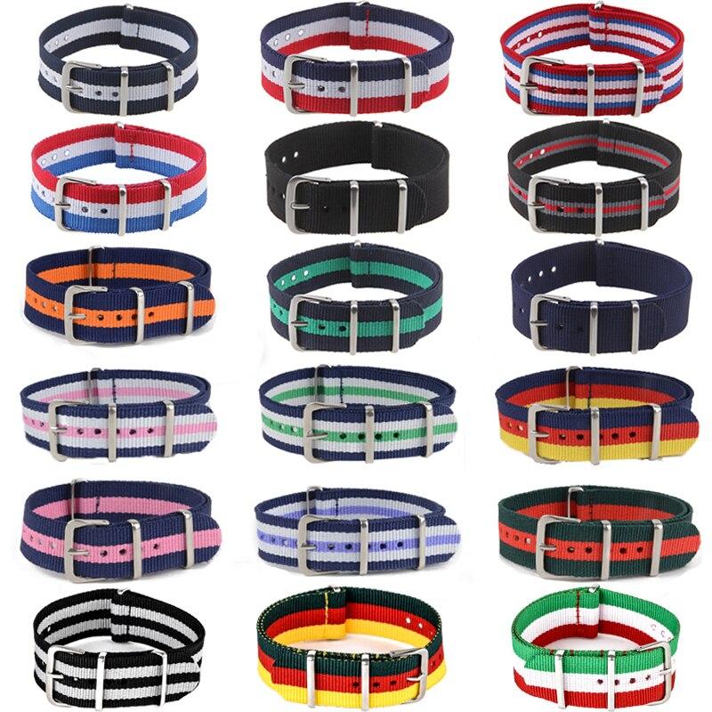 купить Causal Watch Band Luxury Nylon Fabric 18mm 20mm 22mm Alloy Buckle Watch Accessories Colorful Stripe Watchbands Sport Band по цене 56.87 рублей