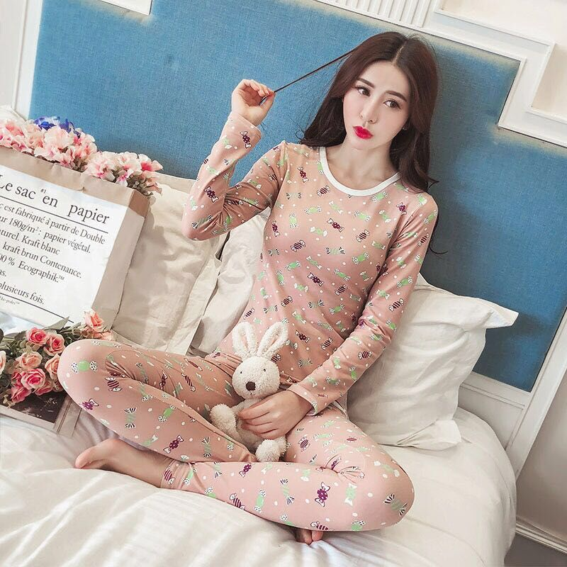 Good Quality 0-neck Sexy Slim Warm Long Johns Ladies Slim Underwears Sets Bottoming Women Tunic Winter Thermal Print Underwears