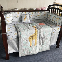 Детская кровать бампер хлопок мягкий дышащий Детский комплект детского постельного белья мультфильм Жираф милые животные вышивка детское одеяло простыни подушки