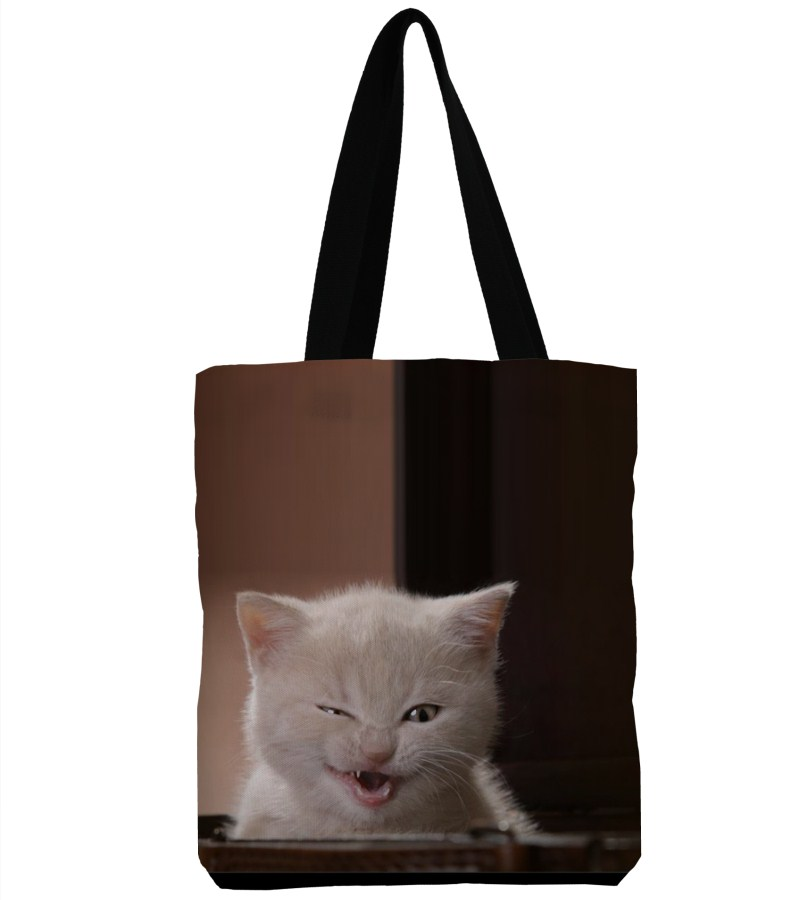 3D Printing Angry Cat Canvas Shoulder Bag Handbag Large Soft Shopping Bag Canvas Beach Bag Tote