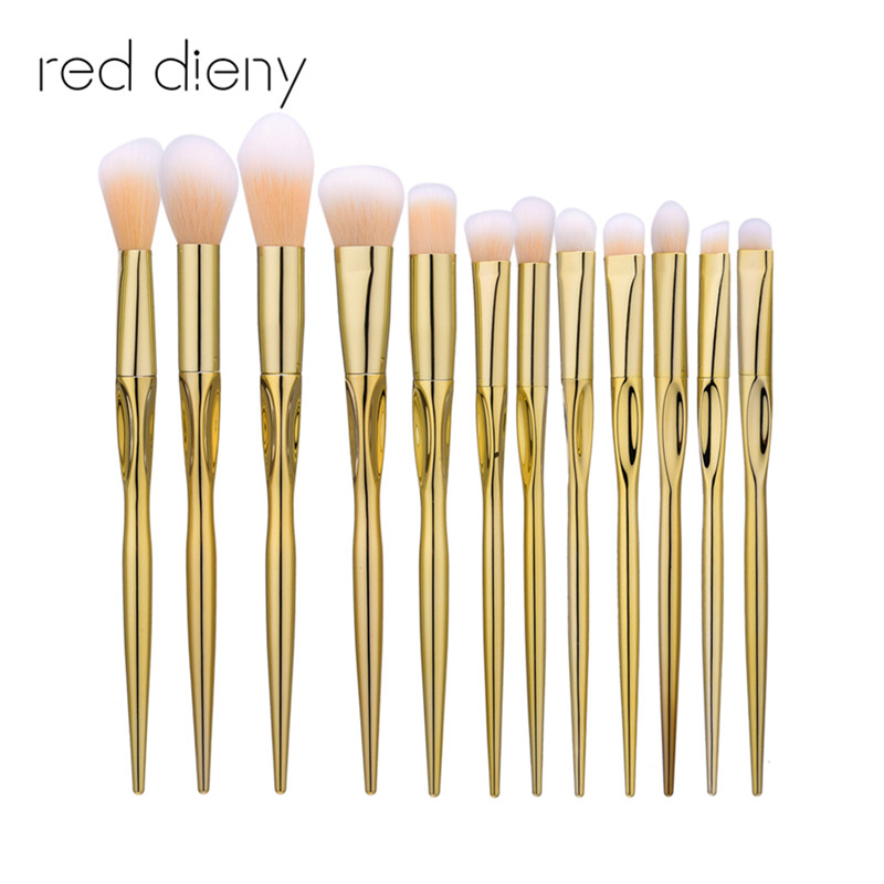 12Pcs/set Gold Makeup Brushes Set Synthetic Hair Make Up Brushes Tools Cosmetic Foundation Powder Eyeshadow Brush Kits