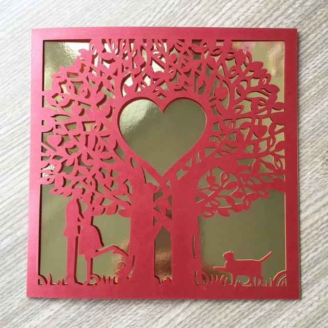 50pcs Lot Romantic And Sweet Lovely Cat Wedding Invitation Card