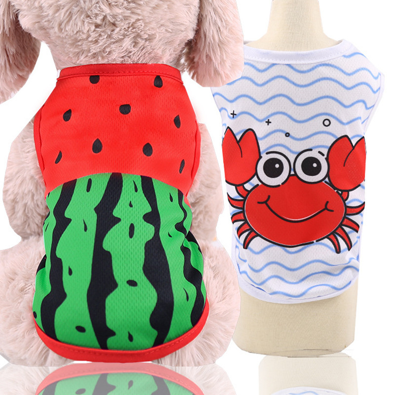 Summer Pet Dog Shirt Mesh Cats Vest For Small Dogs Clothes Printed Crab Watermelon Breathable Comfortable Shirts Puppy Clothing