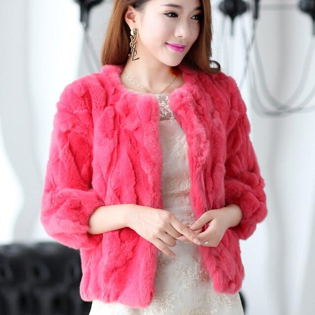 Natural Rex Rabbit Fur Jackets Women O neck 3/4 Sleeve Short Design Thick Warm Winter Real Fur Coats Woman Leather Fur Coat