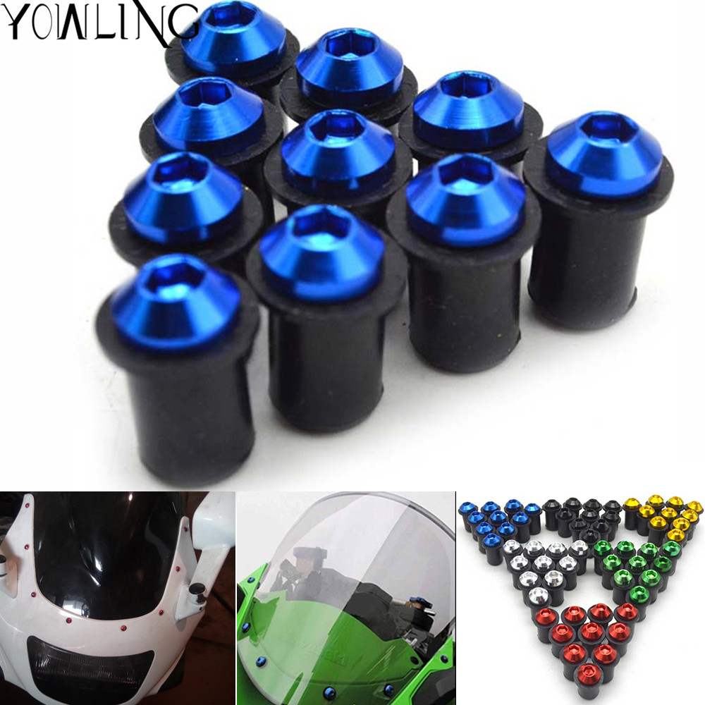10pcs Universal motorcycle Windshield Spike Bolts Screw Nuts For SUZUKI GSXR1000 GSXR 1000 GSX R1000 GSXR-1000 GSXR750 GSXR600 for suzuki gsxr600 gsxr750 gsxr1000 gsx s1000 f tl1000s clutch cable wire adjuster m10 1 5 motorcycle accessories cnc billet