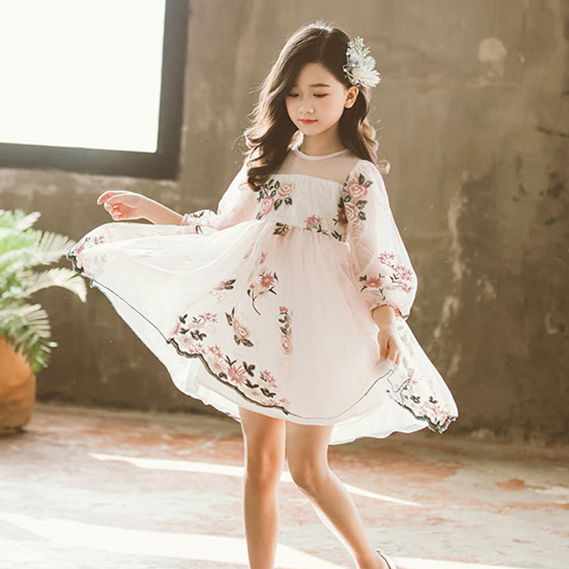 Spring & Autumn Princess Dresses For Girls Clothes Long Sleeve Embroidery Flower Wedding Birthday Party Costume Cute Kid Outfits