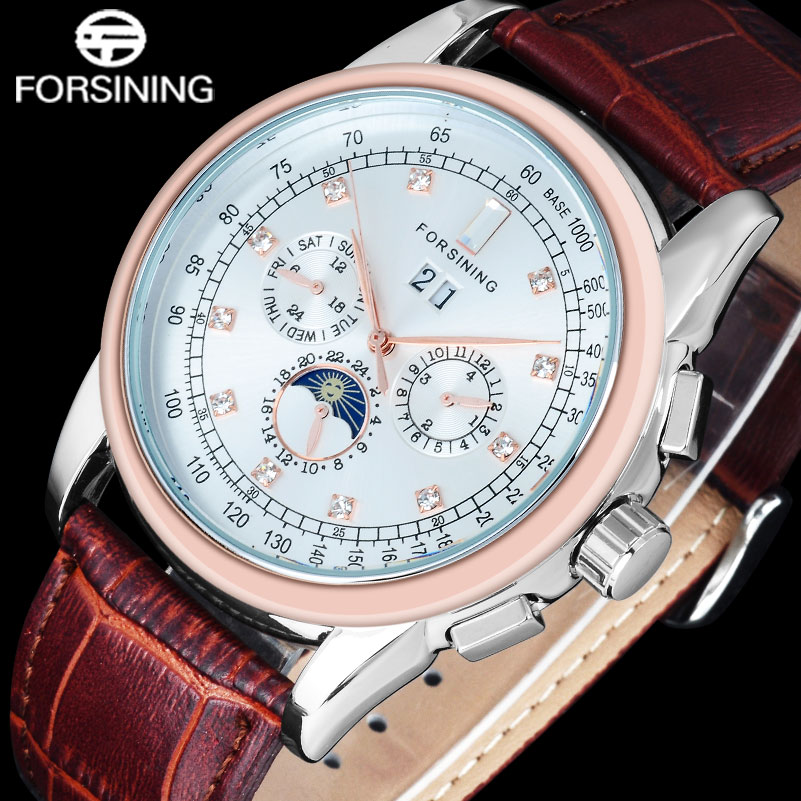 FORSINING 2017 Watches Men Luxury Brand Fashion Casual Automatic Mechanical Rhinestone Rosegold White Wristwatch Genuine Leather binger genuine gold automatic mechanical watches female form women dress fashion casual brand luxury wristwatch original box