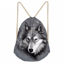 Casual Women Men Drawstrings Bags 3D Animal Wolf Print Storage Backpacks Softback Travel Beach Bag for Teenage BoysSumka