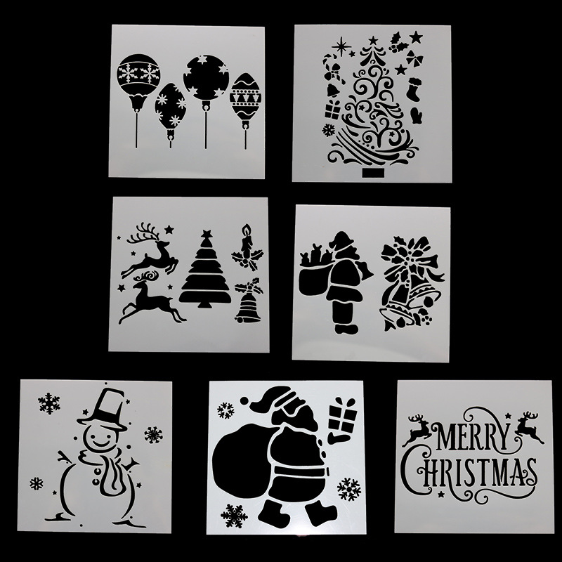 1pc Snowman PET Merry Christmas DIY Drawing Template Ruler Promotional Gift Stationery School Supplies Xmas Gift Multi Ruler