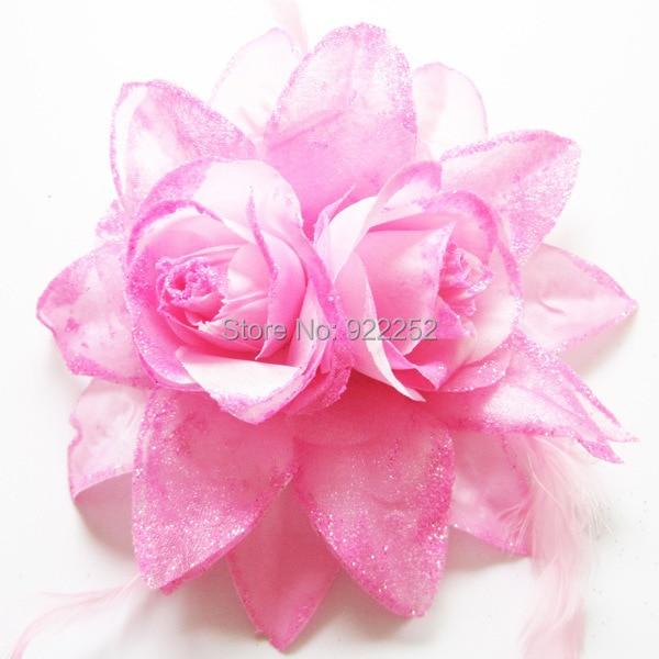 15cm trandafiri artificiale mari de mătase Feather cu clip, bandă, broșă, coroană de flori cap, corsaj încheietura mâinii și boutonnieres, păr ghirlandă