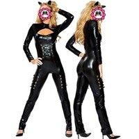 Abbille Nero Sexy Catwoman Tuta Halloween Vestito Cosplay Sexy Cat Busto Aperto Catsuit In Pelle PVC Tuta ClubWear Costume