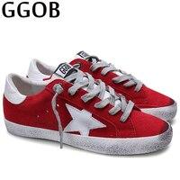 GGOB 2018 новый модный бренд Женская обувь на плоской подошве из натуральной кожи красного цвета Повседневная обувь для прогулки на открытом во