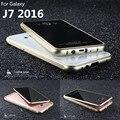 Caso luphie aluminum case para samsung galaxy j7 2016 j7100 tampa do telefone de proteção de vidro de luxo tampa traseira para samsung j7 2016 shell