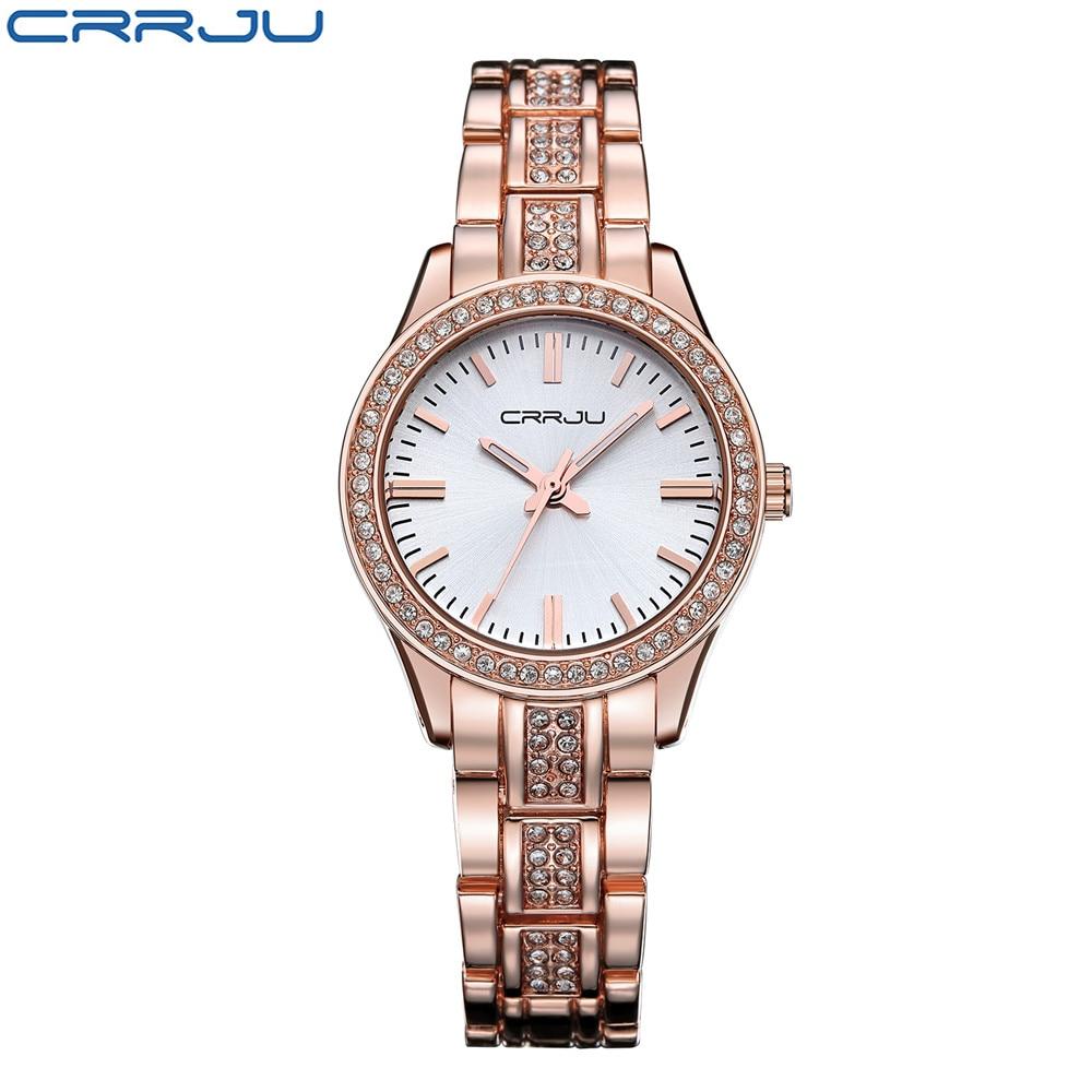 CRRJU պատահական ձեռնաշղթա ոսկե ժամացույց Կանանց ռինեզոն ժամացույցներ Կանայք էլեգանտ քվարցային դաստակ ժամացույցներ կանայք Relojes Mujer Montre Femme