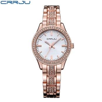 CRRJU Casual Bracelet Gold Watch Women Rhinestone Watches Women Elegant Quartz Wrist Watch Women Relojes Mujer Montre Femme дамски часовници розово злато