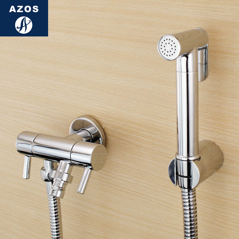 Azos Bidet Faucet Pressurized Sprinkler Head Brass Chrome Cold Water Two Function Toilet Space Saving Washing Machine Round