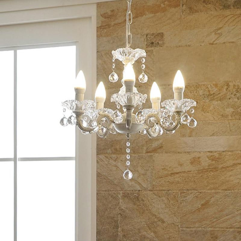 European Elegant Crystal Chandelier E14 Modern Hanging Light 5 Lamp Suspension Fixture Lighting For Living Room Bedroom PL590 3 led bulbs l24 x w8 x h23 6 crystal chandelier pendant lamp raindrop hanging suspension light lighting