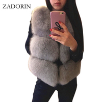 S 3XL New 2019 Autumn Winter Thick Warm Faux Fox Fur Vest Women High Quality Fashion V Neck Short Fur Coat Female Fur Waistcoat